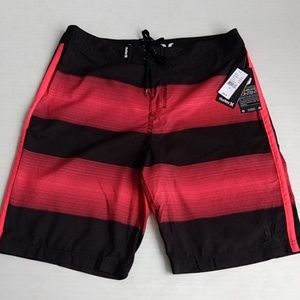 Hurley Board Shorts Trunks Red Black Striped Sz 36
